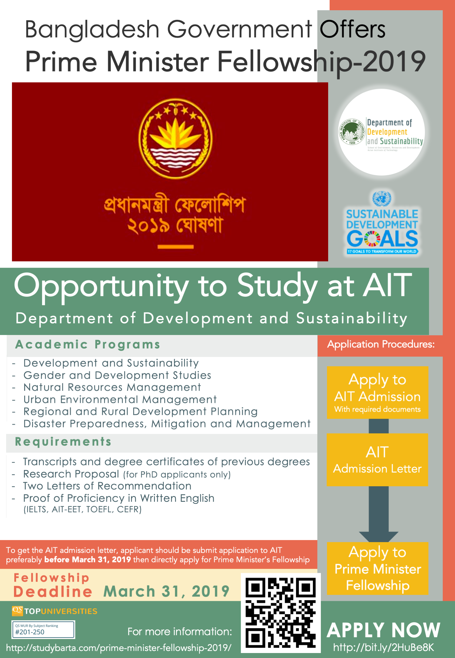 Scholarship in August 2019 - Department of Development and